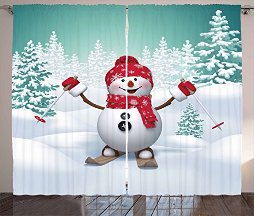 Ambesonne Christmas Curtains, Snow Covered Mountain with Fir Trees and Skiing Snowman Fun Holiday Activity, Living Room Bedroom Window Drapes 2 Panel Set, 108 W X 63 L Inches, White Teal (Skiing Snowman)