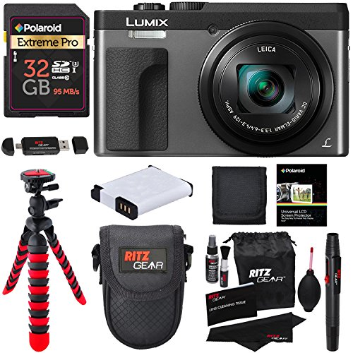 Panasonic DC-ZS70S Lumix 20.3 Megapixel, 4K Digital Camera, Touch Enabled 3″ 180 Degree Flip-Front Display, 30x Leica DC Vario-Elmar Lens, Wi-Fi with 3″ LCD, Silver, Polaroid 32GB and Accessory Bundle