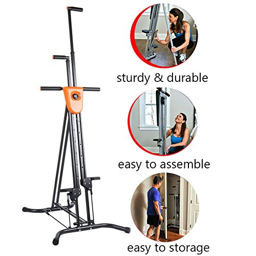 Vertical Climber with Cast Iron Frame and Digital Display As Seen On TV | Full Total Body Workout Fitness Folding Cardio Climber Exercise Machine (2 Extra Resistance Straps Included) by OUTAD (Image #5)