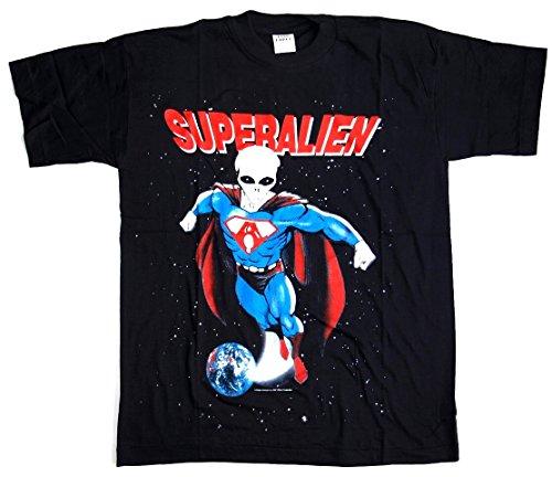 T-Shirt Superalien Größe L Baumwolle Siebdruck Original 1990er Jahre Funshirt