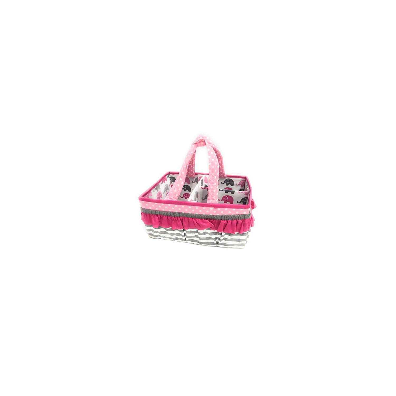 Bacati Elephants Girls Nursery Fabric Storage Caddy with Handles, Pink/Grey