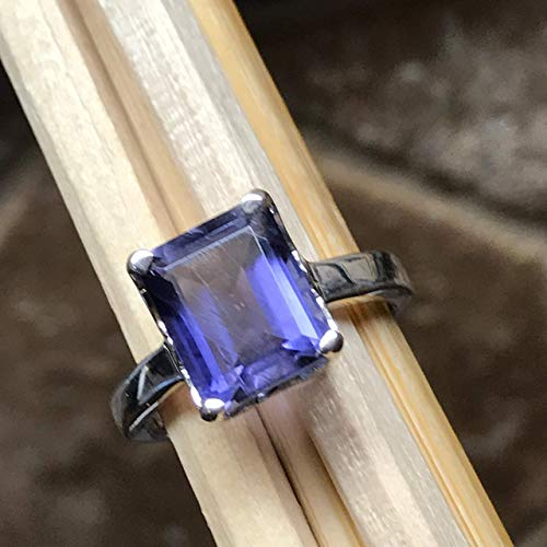 Natural 2.5ct Iolite { Water Sapphire } 925 Solid Sterling Silver Ring sz 6 ()