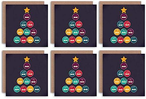 Wee Blue Coo Christmas Cards 6 Pack - Moustache Tree Funny Hipster Set Xmas Cristo Árbol Gracioso: Amazon.es: Hogar
