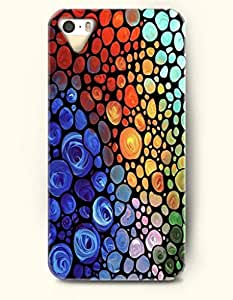 Apple iPhone 4/4S Cover Colorful Stone Pattern - Hard Back Plastic Case / Rainbow Color Series / OOFIT Authentic