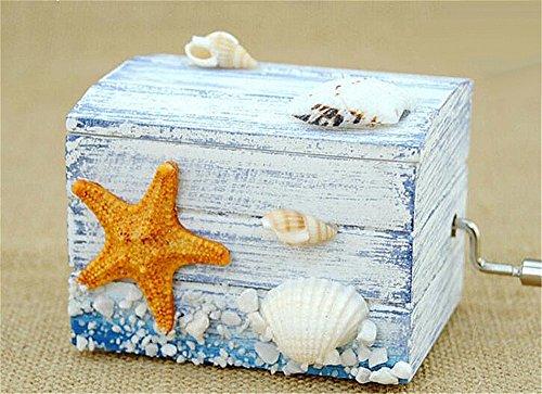 (Biscount Mini Starfish Shell Beach Classic Clockwork Wood Music Box Castle in the Sky Hand Crank Musical Box for Kids Girls Women Gift)