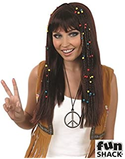 Ladies Braided Hippie Wig for 60s 70s Hippy Fancy Dress Accessory IN: BROWN by Partypackage