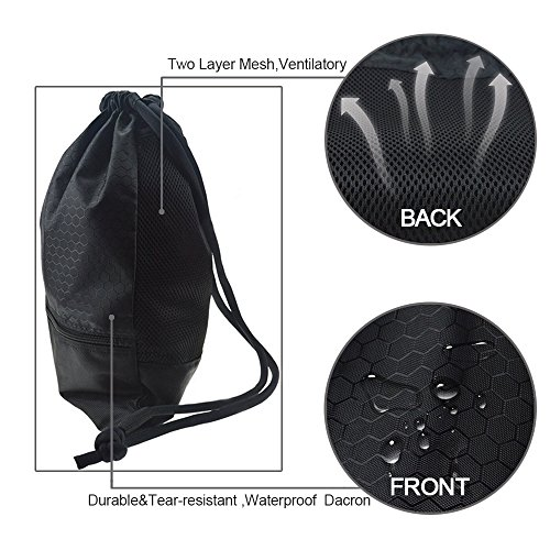Drawstring Bag With Pockets Waterproof Sports Gym Bag with Large Capacity (Black) by Tosun (Image #3)
