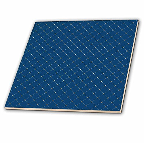 3dRose Anne Marie Baugh - Patterns - Blue and Gold Diamond Point Pattern - 8 Inch Glass Tile (ct_282987_7)