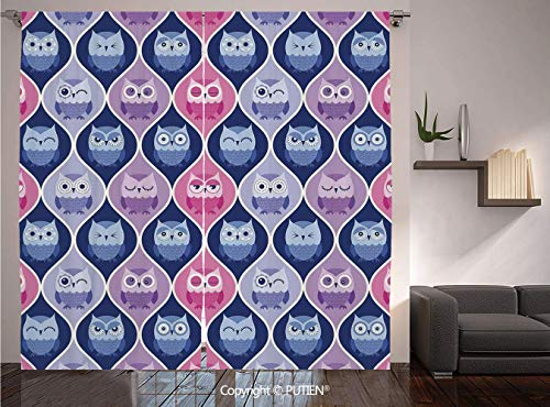 Thermal Insulated Blackout Window Curtain [ Owls Home Decor,Tired Eyes Closed Sleeping Owls Silent Flight Kids Vertical Design Illustration,Pink Purple Blue ] for Living Room Bedroom Dorm Room Classro