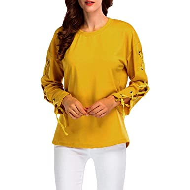 6f8a153655eab Womens Blouses,DEATU Ladies Casual Long Sleeve Tops Shirt Bandage Loose  Solid T-shirt