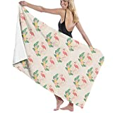 PCU6FRPJ Flamingos Exotic Wallpaper Pattern Luxury Beach Towels,Maximum Softness Face Bath Towels for Gym,Spa,Swimming,Surf,Yoga