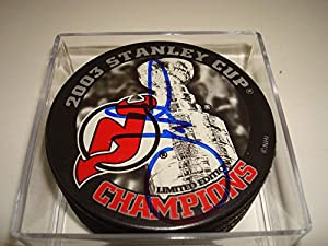 Joe Nieuwendyk Signed Hockey Puck - 03 Stanley Cup Champions #3 - Autographed NHL Pucks
