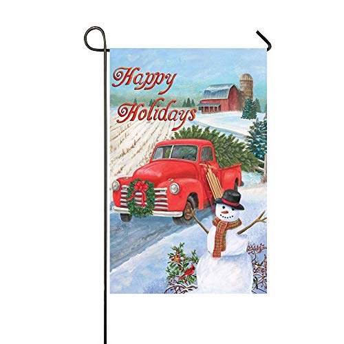 Mark Reynolds Happy Holidays Stand Snowman Red Truck Garden Flag Holiday Decoration Double Sided Flag 12.5