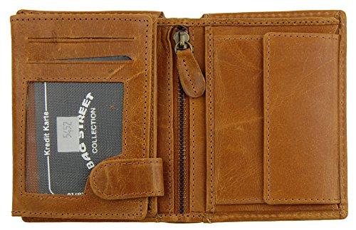 NB24 Versand Herren Geldbörse (5452), Wash Leather Echtes Leder, hellbraun; WILD THIMGS ONLY !!!