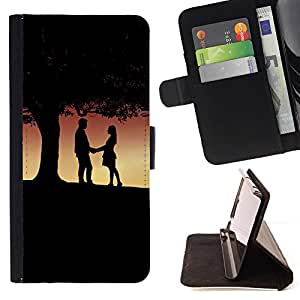 DEVIL CASE - FOR LG G2 D800 - Romance Under Tree - Style PU Leather Case Wallet Flip Stand Flap Closure Cover
