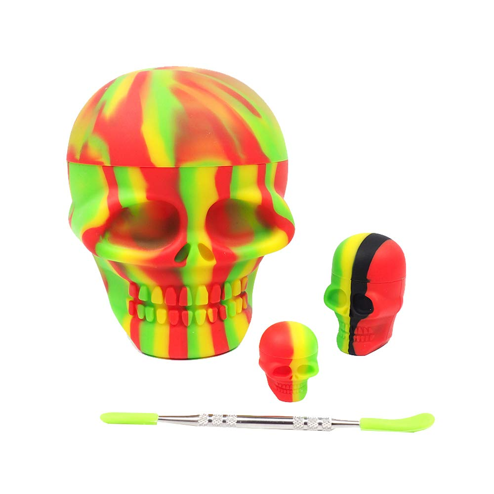 YHSWE Non-stick Silicone Dab Container Food Grade Wax Jar Combo for 3 Sizes Skull Shape Box 3ml/15ml/500ml each 1 and 1 Holder Multi Color