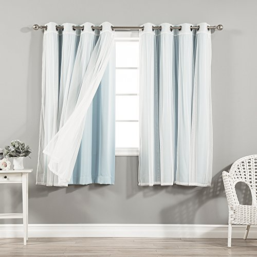 Best Home Fashion Mix & Match Tulle Sheer Lace and Blackout Curtain Set - Stainless Steel Nickel Grommet Top - Sky Blue - 52