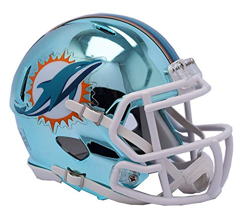 Sports Memorabilia Riddell Miami Dolphins Chrome Alternate Speed Mini Football Helmet - NFL Mini Helmets