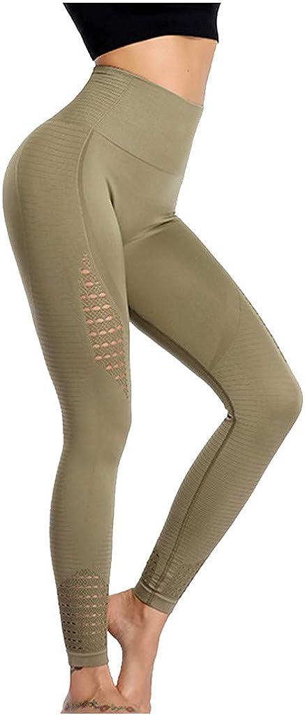 ETATNG Womens Tummy Control Sports Legging Tight Stretch Quick-Drying Fitness High Waist Peach Yoga Pants Trousers