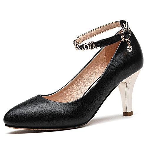 de black y Lady alto Transpirable zapatos gato noche club de elegante Moda superficial tacon Sandalias Boca mujer AJUNR sexy WcnSUa86HS