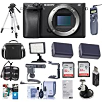 Sony Alpha a6300 Mirrorless Digital Camera Body - Bundle with 32GB Class 10 SDHC Cards, Camera Case, 2x Spare Battery, Tripod, Video Light, Remote Shutter Trigger, Shotgun Mic, Software Pack and More