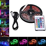 AVAWAY RGB LED Strip Lights, USB Powered SMD 5050 LED Light Strips with 24 Keys Remote Control for TV Background Lighting PC Notebook Home Decoration - 118Inches/3M