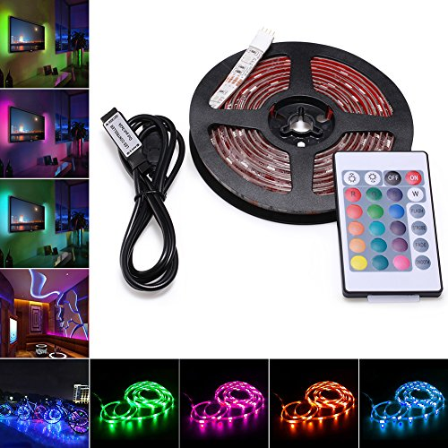 Usb Notebook Led Light (AVAWAY RGB LED Strip Lights, USB Powered SMD 5050 LED Light Strips with 24 Keys Remote Control for TV Background Lighting PC Notebook Home Decoration - 118Inches/3M)
