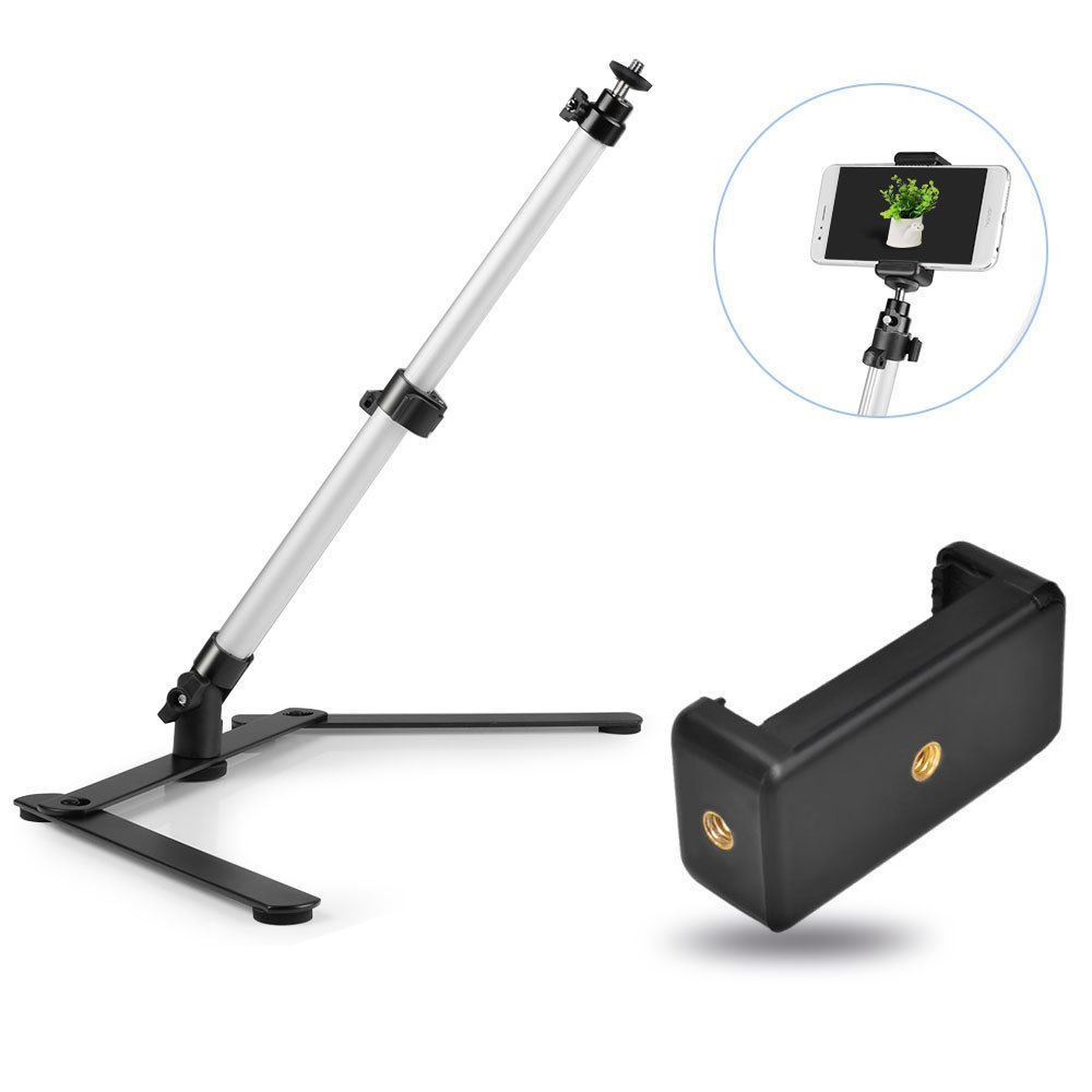 UTEBIT Photo Copy Stand Macro Camera Table Top Monopod Stand with 360 Degree Swivel Ball Head Mount & Cellphone Clamp for DSLR Video Photography by UTEBIT