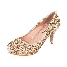Mila Lady's Sparkle Crystal Gem Rhinestone Glitter Pumps, Wedding Shoes Dress Heels