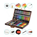 KIDDYCOLOR Deluxe Wood Art Set for Kids Drawing Set in Wooden Case 80 pcs