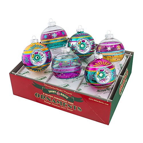Shiny Brite Vintage Celebration Decorated Rounds with Reflectors - Set of Six (Vintage Shiny Brite Ornaments compare prices)