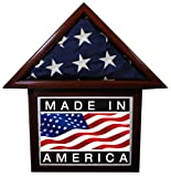 "Solid Mahogany Flag Display Case with attached 8.5 x 11"" Frame, American Made, for 3 x 5' Nylon Flag"