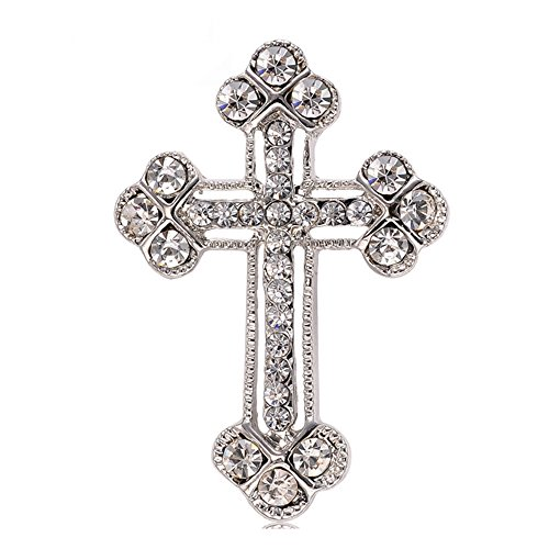 CHUYUN Exquisite Silver Clear Crystal Rhinstone Cross Crucifix Brooch Pin Crucifix Pin
