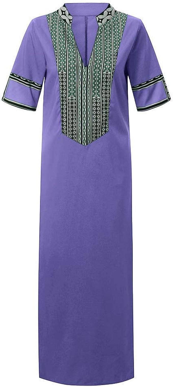 AIFGR Falda de señora Damas Vestido Largo de Manga Larga con Cuello en V Vestido Largo Dobladillo Vestido de Fiesta de Noche(Morado, S): Amazon.es: Ropa y accesorios