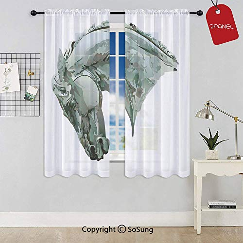 (Green Stain Horse with Mane Image Equestrian Camouflage Color Abstract Artwork Rod Pocket Sheer Voile Window Curtain Panels for Kids Room,Kitchen,Living Room & Bedroom,2 Panels,Each 42x54 Inch,Grey)