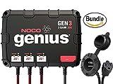 NOCO Genius GEN3 30 Amp 3-Bank Waterproof Smart On-Board Battery Charger & NOCO Genius GCP1 Black 13 Amp 125V AC Port Plug (Bundle)