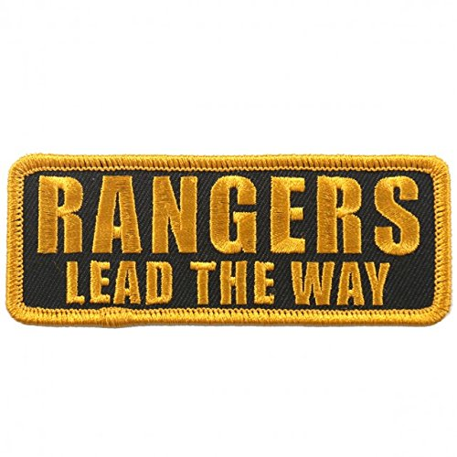 Rangers Lead The Way  High Thread Embroidered Iron On   Saw On  Heat Sealed Backing Rayon Patch   4  X 2
