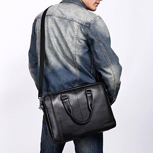 Leathario bolso bandolera o con mano para hombres de estilo simple con La primera capa de cuero de lichi para ordenador y trabajo. negro