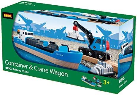 BRIO Bahn 33534 - Containerschiff mit Kranwagen
