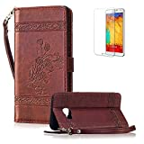 For Samsung Galaxy A3 2016 Cover [with Free Screen Protector],Funyye Premium Classic Vintage Embossed Wallet Case with [Wrist Strap] and [Credit Card Holder Slots] Stand Function Book Type Durable PU Leather Shell for Samsung Galaxy A3 2016 -Wine Red