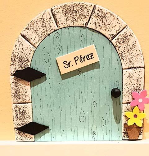 Puerta mágica Ratoncito Pérez que se abre, MADERA AZUL, incluye ratón guardadientes y escalera.: Amazon.es: Handmade