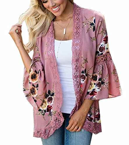 Women's 3/4 Flare Sleeve Floral Print Casual Kimono Cardigan Blouse Top (M, Pink)