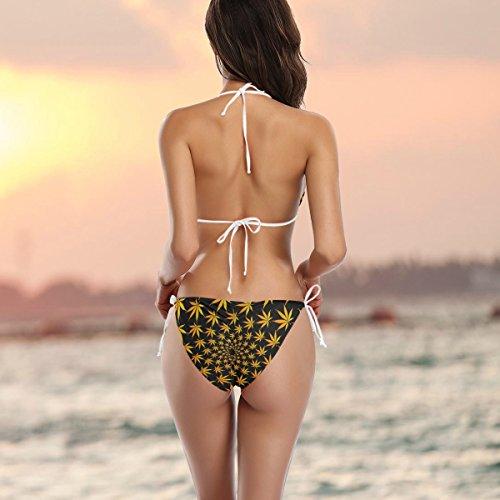 marihuana de Hoja o traje piezas ba Alaza Conjunto multicolor Ba dos de de o de mujer de bikini qAwwaP7X