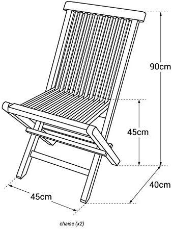 Beneffito Conjunto de sillas de jardín Plegables en Teca Natural para Exterior SALENTO (2)