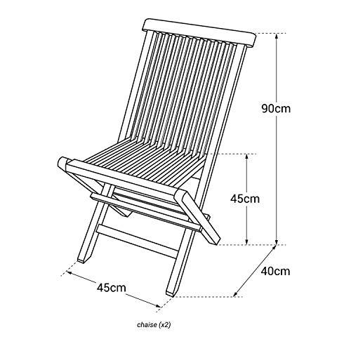 Beneffito Conjunto de Dos sillas de jardín Plegables en Teca Natural para Exterior SALENTO