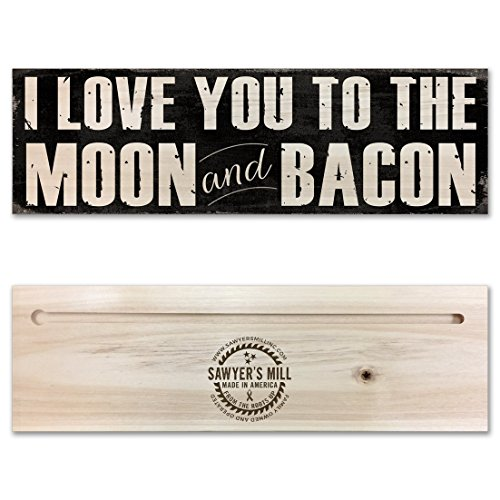 Moon Wood Sign (I Love You to the Moon & Bacon - Funny Twist on I Love You to the Moon and Back Saying - Handmade Wood Block Sign)