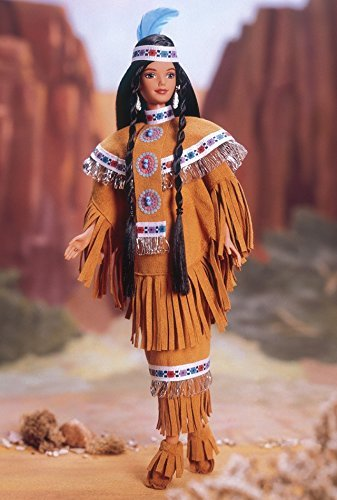 Barbie 1997 Collector Edition Dolls of the World 12 Inch Doll - Fourth Edition Native American Barbie with Poncho, Skirt, Headband, Moccasins, Jewelry, Hairbrush and Doll Stand