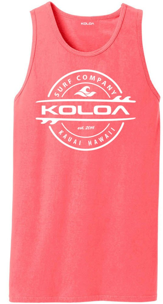 Koloa Surf(tm) Thruster Logo Pigment-Dyed Tank Tops-NeonCoral-2XL