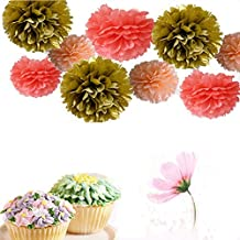Somnr® Set of 9 Gold Peach Coral Wedding Flower Tissue Paper Pompoms Birthday Nursery Bridal Shower Hanging Party Decoration by Somnr by Somnr