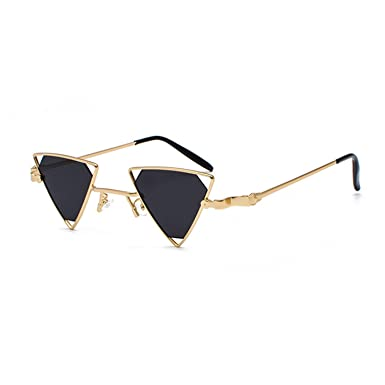 d35e3f64fd4 Image Unavailable. Image not available for. Color  Girl Vintage Punk Triangle  Sunglasses Women Men Metal Frame Black Red Yellow Pink Sun Glasses Retro